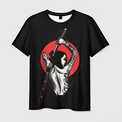 Футболка мужская Девушка с мечом цвета 3D — фото 1