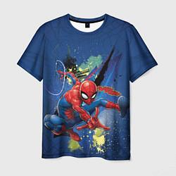 Футболка мужская Spider-man with a spiderweb цвета 3D-принт — фото 1