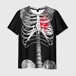 Футболка мужская Скелет с сердцем цвета 3D — фото 1