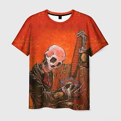 Футболка мужская Скелет с гитарой цвета 3D — фото 1