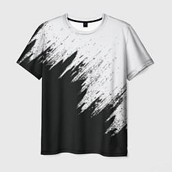 Футболка мужская Черно-белый разрыв цвета 3D — фото 1