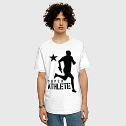 Футболка оверсайз мужская Лёгкая атлетика цвета белый — фото 2