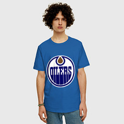Футболка оверсайз мужская Edmonton Oilers цвета синий — фото 2