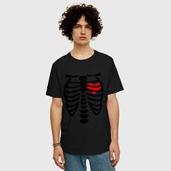 Футболка оверсайз мужская Skeleton heart цвета черный — фото 2