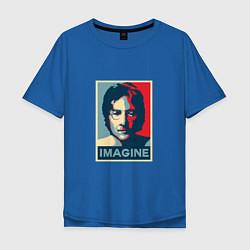 Футболка оверсайз мужская Lennon Imagine цвета синий — фото 1