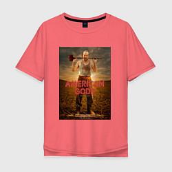 Футболка оверсайз мужская American Gods: Czernobog цвета коралловый — фото 1