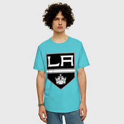 Футболка оверсайз мужская Los Angeles Kings цвета бирюзовый — фото 2