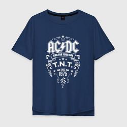 Футболка оверсайз мужская AC/DC: Run For Your Life цвета тёмно-синий — фото 1