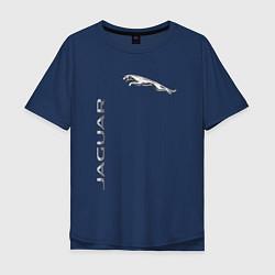 Футболка оверсайз мужская Jaguar Motors цвета тёмно-синий — фото 1