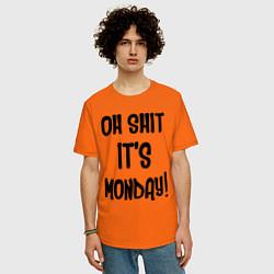 Футболка оверсайз мужская Oh shit! Its monday цвета оранжевый — фото 2