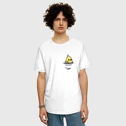 Мужская удлиненная футболка с принтом Попугай в кармане, цвет: белый, артикул: 10151587705753 — фото 2