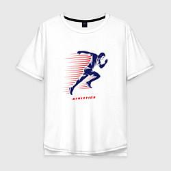 Мужская удлиненная футболка с принтом Fast Run, цвет: белый, артикул: 10156058105753 — фото 1