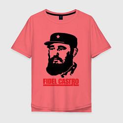Футболка оверсайз мужская Fidel Castro цвета коралловый — фото 1