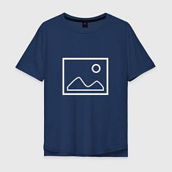 Футболка оверсайз мужская Ярлык картинки цвета тёмно-синий — фото 1