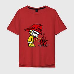 Футболка оверсайз мужская Ручной пожарник цвета красный — фото 1