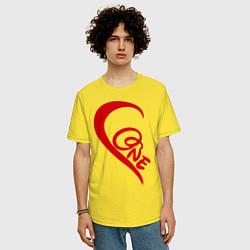Футболка оверсайз мужская One love: for his цвета желтый — фото 2