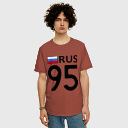 Мужская удлиненная футболка с принтом RUS 95, цвет: кирпичный, артикул: 10017369505753 — фото 2