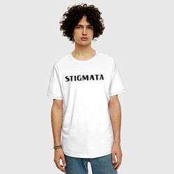 Мужская удлиненная футболка с принтом Stigmata, цвет: белый, артикул: 10203594905753 — фото 2