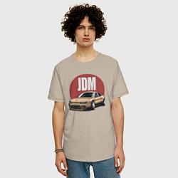 Мужская удлиненная футболка с принтом JDM, цвет: миндальный, артикул: 10212055305753 — фото 2