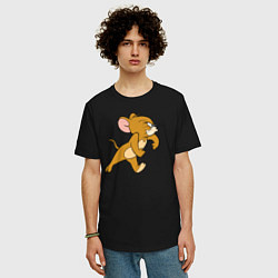 Футболка оверсайз мужская Грозный Джерри цвета черный — фото 2