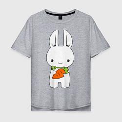 Мужская удлиненная футболка с принтом Зайчик с морковкой, цвет: меланж, артикул: 10026933005753 — фото 1