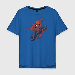 Футболка оверсайз мужская Человек-паук цвета синий — фото 1