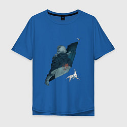 Футболка оверсайз мужская Бегущий по лезвию цвета синий — фото 1