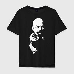Футболка оверсайз мужская Ленин: фигу вам цвета черный — фото 1