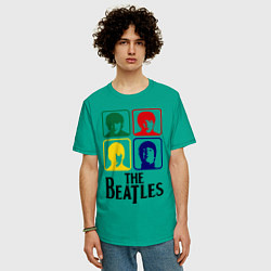Футболка оверсайз мужская The Beatles: Colors цвета зеленый — фото 2