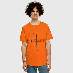Футболка оверсайз мужская Lineage logo цвета оранжевый — фото 2