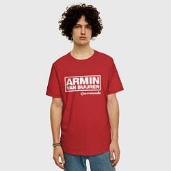 Мужская удлиненная футболка с принтом Armin van Buuren, цвет: красный, артикул: 10061384305753 — фото 2