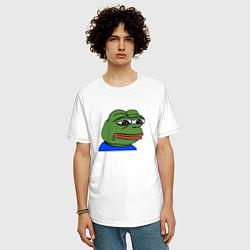 Мужская удлиненная футболка с принтом Sad frog, цвет: белый, артикул: 10097153005753 — фото 2
