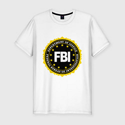 Футболка slim-fit FBI Departament цвета белый — фото 1
