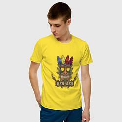 Футболка хлопковая мужская Aku-Aku (Crash Bandicoot) цвета желтый — фото 2