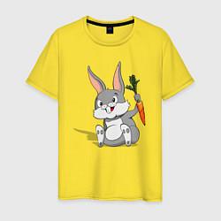 Мужская хлопковая футболка с принтом Зайка с морковью, цвет: желтый, артикул: 10101932300001 — фото 1