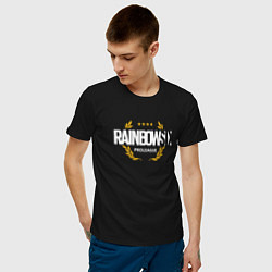 Футболка хлопковая мужская Rainbow six | Siege : Pro league (white) цвета черный — фото 2