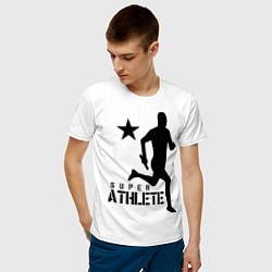 Мужская хлопковая футболка с принтом Лёгкая атлетика, цвет: белый, артикул: 10010562100001 — фото 2