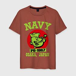 Футболка хлопковая мужская Navy: Po-1967 цвета кирпичный — фото 1