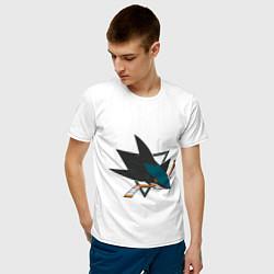 Футболка хлопковая мужская San Jose Sharks цвета белый — фото 2