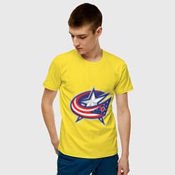 Мужская хлопковая футболка с принтом Columbus Blue Jackets, цвет: желтый, артикул: 10010709100001 — фото 2