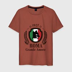 Футболка хлопковая мужская AS Roma: Grande Amore цвета кирпичный — фото 1