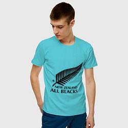 Футболка хлопковая мужская New Zeland: All blacks цвета бирюзовый — фото 2