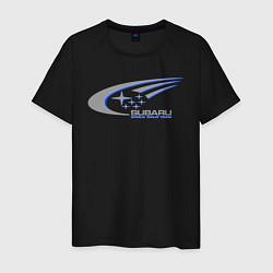 Мужская хлопковая футболка с принтом Subaru world rally team, цвет: черный, артикул: 10011464700001 — фото 1