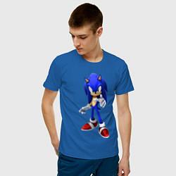 Футболка хлопковая мужская ЁЖ Соник цвета синий — фото 2