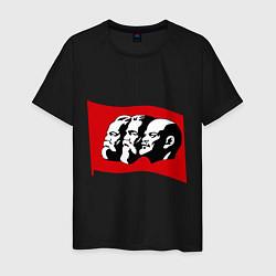 Футболка хлопковая мужская Маркс, Энгельс, Ленин цвета черный — фото 1