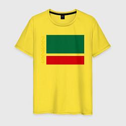 Мужская хлопковая футболка с принтом Чечня: флаг, цвет: желтый, артикул: 10011926900001 — фото 1