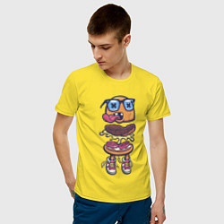 Футболка хлопковая мужская Гамбургер цвета желтый — фото 2