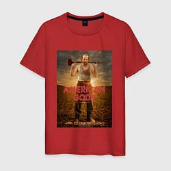 Футболка хлопковая мужская American Gods: Czernobog цвета красный — фото 1