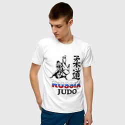 Футболка хлопковая мужская Russia Judo цвета белый — фото 2