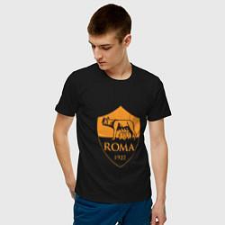 Футболка хлопковая мужская AS Roma: Autumn Top цвета черный — фото 2